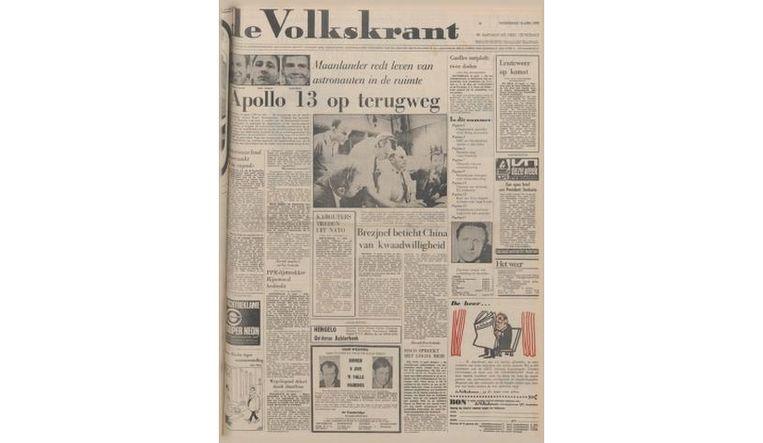 Voorpagina 15 april 1970 Beeld de Volkskrant