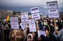 Tegenstanders van het verbod demonstreren in Genève.