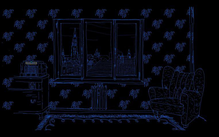 'Numi Yaldati' is een audioverhaal dat zich afspeelt in een appartementsgebouw in Antwerpen. De witte pentekeningen zijn van Tom Clement van MartHa!tentatief. Beeld RV KVS