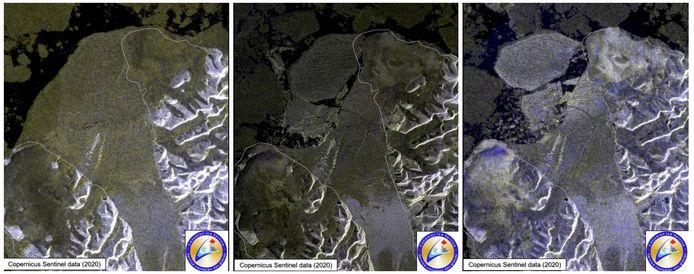 De ca. 43 procent verkleining van het ijsplateau Milne Ice Shelf, gezien op een aantal satellietbeelden die zijn gemaakt tussen 30 juli en 4 augustus van dit jaar.