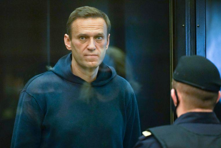 Oppositieleider Aleksej Navalny op zijn proces. Beeld ZDF und Uncredited/Moscow City C