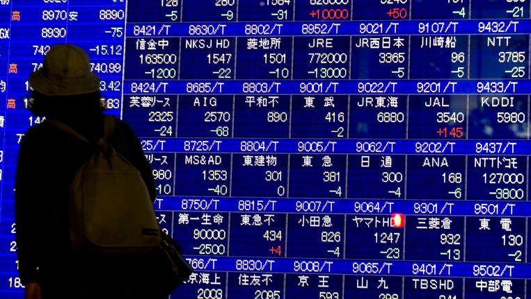Schermen met aandelenkoersen in Tokyo. Beeld EPA