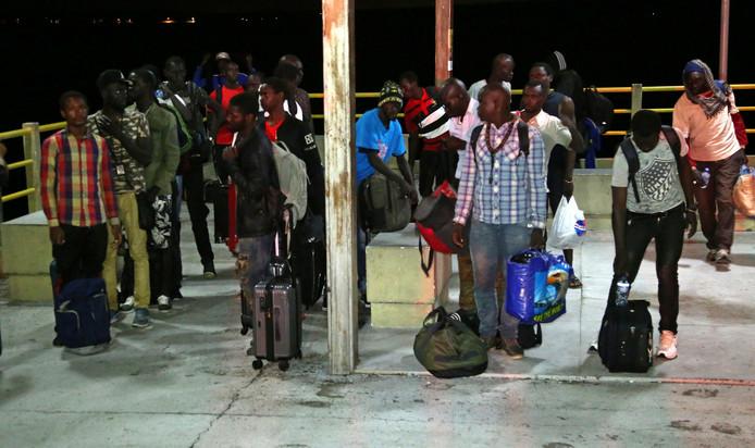 De vluchtelingen komen aan in Brazilië.