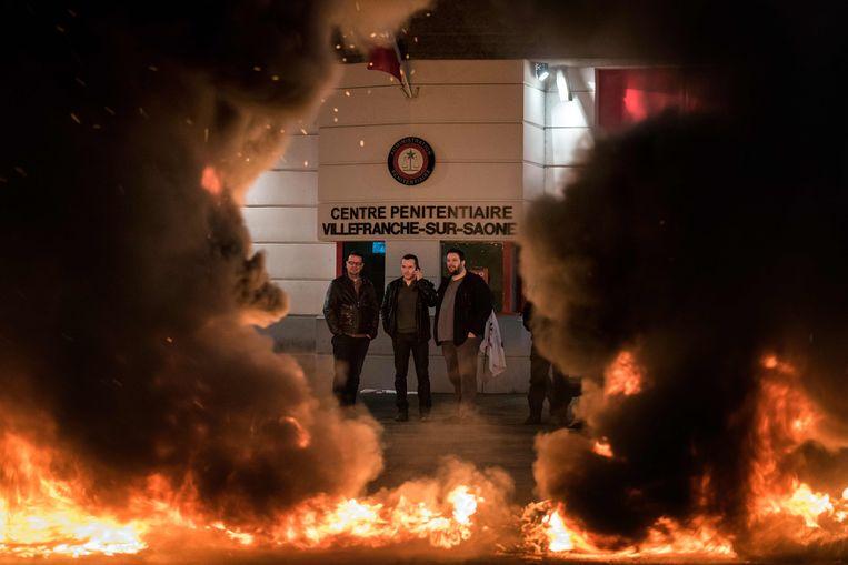 Actie aan de gevangenis van Villefranche-sur-Saone. Beeld AFP
