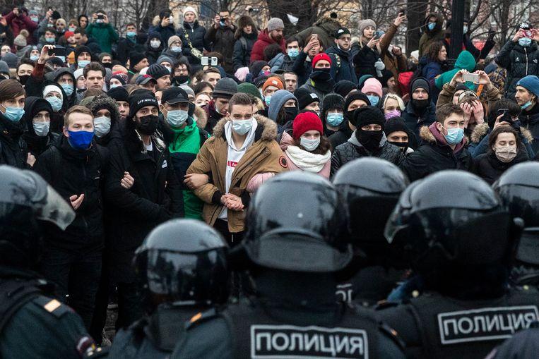 Vorig weekend kwamen in Rusland meer dan honderdduizend mensen op straat om te protesteren tegen de opsluiting van oppositieleider Aleksej Navalny.  Beeld AP