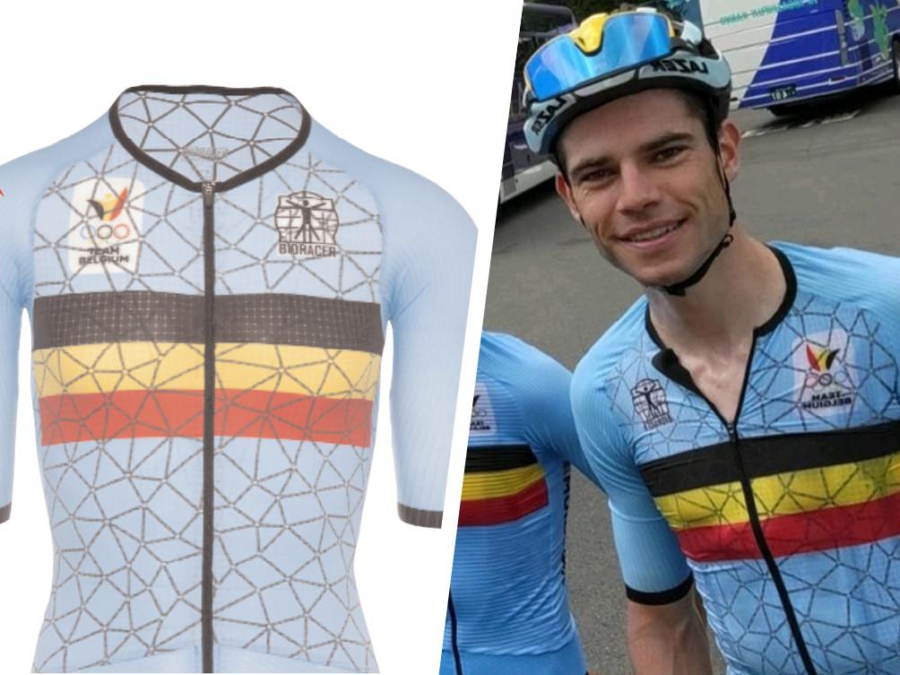 Wout van Aert en zijn ploegmakkers rijden in Tokio in een speciaal shirt rond.