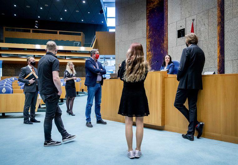 Salima Belhaj (D66) in de Tweede Kamer tijdens een debat over jongeren die de dupe zijn geworden van sluiting van de Hoenderloo Groep.  Beeld ANP
