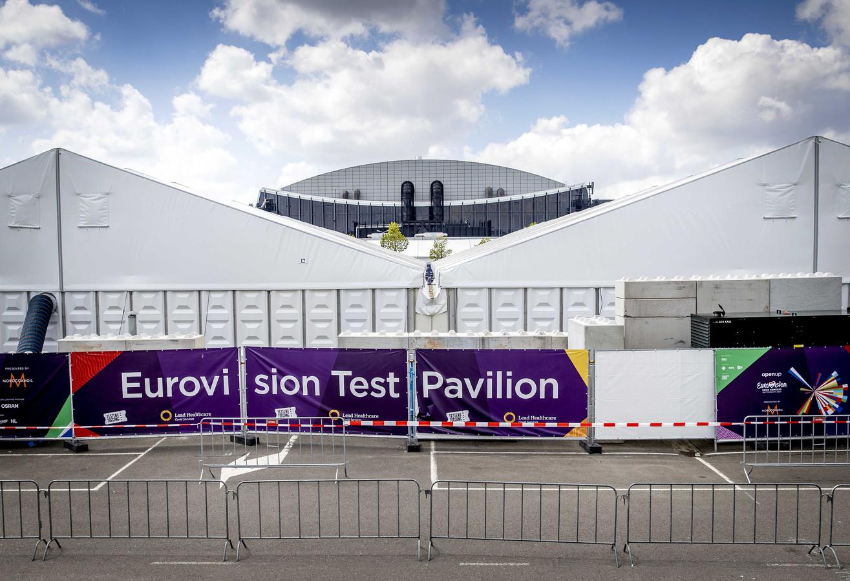 Het testpaviljoen voor Ahoy in Rotterdam waar het Eurovisie Songfestival gehouden wordt.