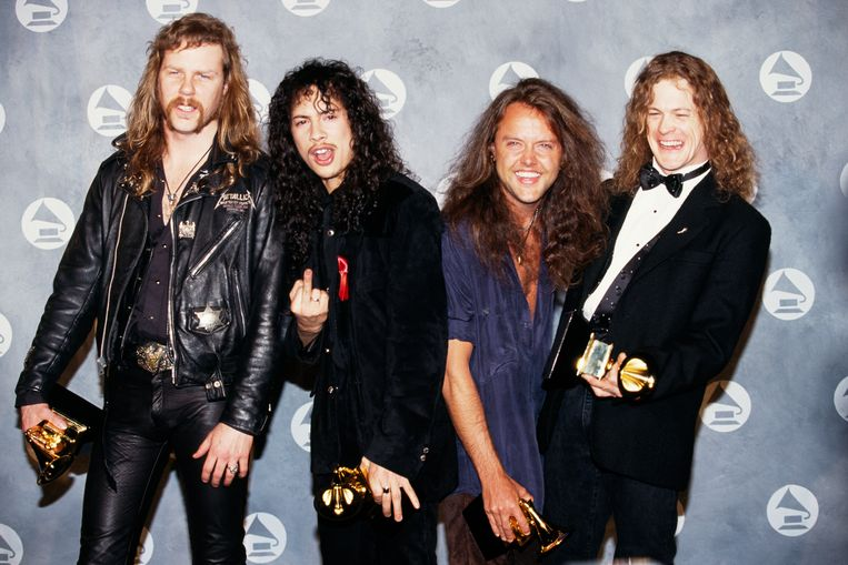 Vanaf links: James Hetfield, Kirk Hammett, Lars Ulrich en Jason Newsted. Beeld Rick Maiman / Getty