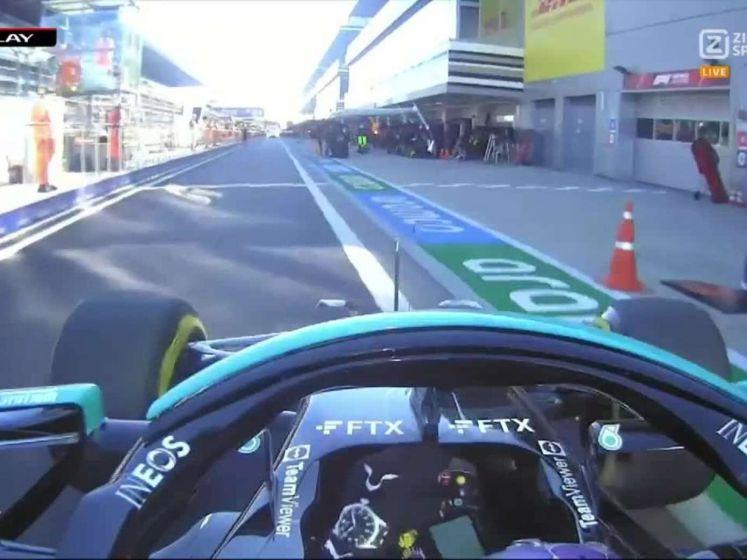 Hamilton rijdt pitstoppper onderuit