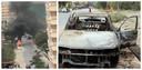 Links: een auto nabij de luchthaven brandde uit na een raketinslag.  Foto rechts: het vermoedelijke voertuig waar vanuit de raketten zijn afgevuurd is uitgebrand.