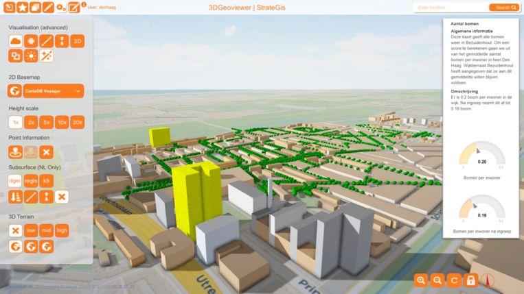 3D-impressie van Bezuidenhout. Te zien is hoeveel bomen er voor en na nieuwbouw (gele blokken) zijn per inwoner. Beeld StrateGis