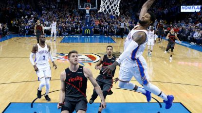 VIDEO. Paul George en Russell Westbrook schitteren in NBA en leiden Oklahoma voorbij Portland