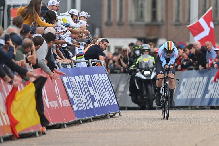 Florian Vermeersch reed in Brugge naar brons bij de beloften. Beeld BELGA
