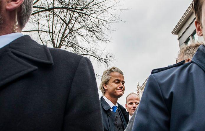 PVV-leider Geert Wilders met beveiligers