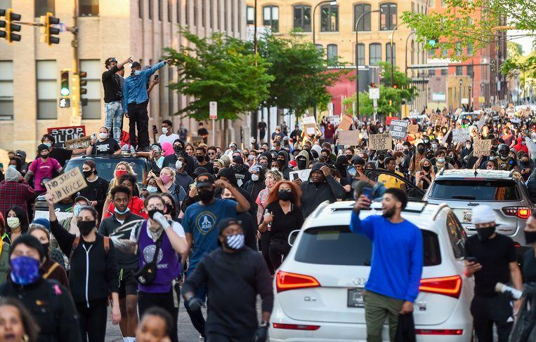 Protest in Minneapolis. Beeld EPA