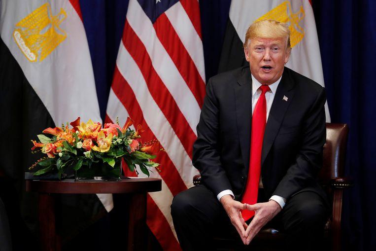 De Amerikaanse president  Donald Trump in gesprek met journalisten tijdens de Algemene Vergadering van de Verenigde Naties in New York. Beeld REUTERS