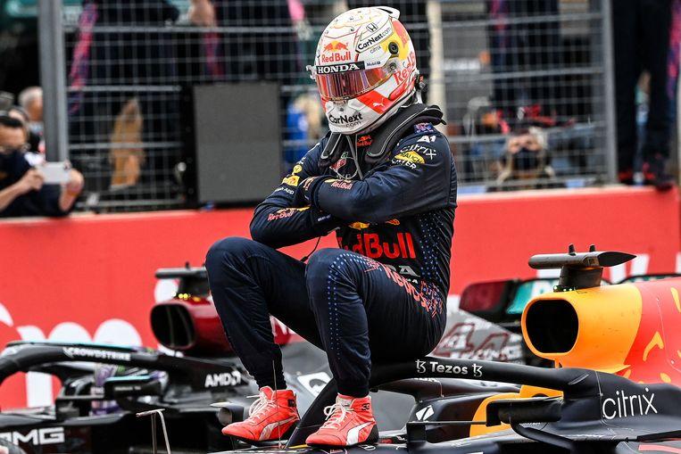 Max Verstappen na zijn overwinning in de GP van Frankrijk.  Beeld AFP