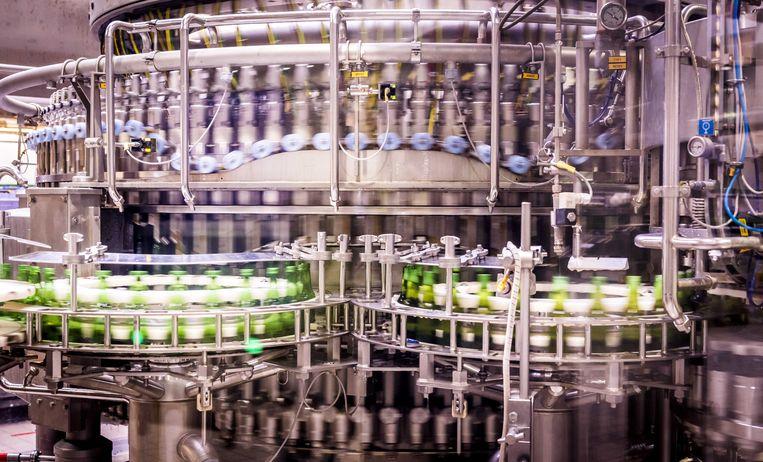 Productie van het alcoholvrije biertje Heineken 0.0 bij de brouwerij in Den Bosch. Beeld ANP