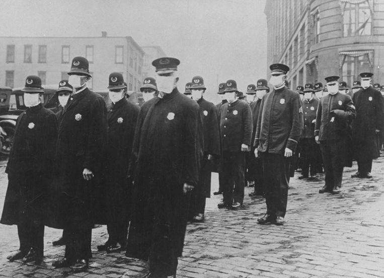 Politieagenten in Seattle in de Verenigde Staten, 1918.   Beeld Getty Images