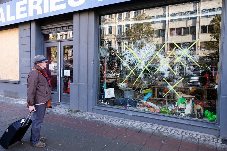 Schade na rellen in Brussel centrum.