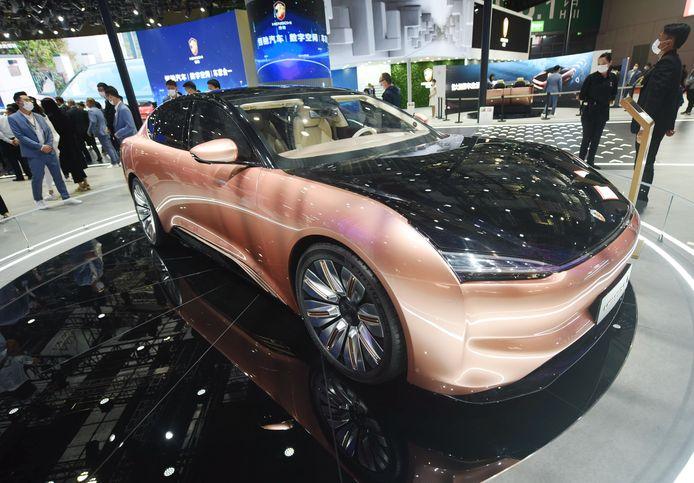 Een elektrische auto gelanceerd door Evergrande op de Shanghai Auto Show eerder dit jaar.