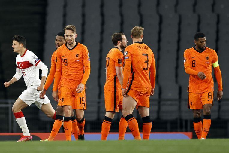Luuk de Jong, Daley Blind, Matthijs de Ligt en Georginio Wijnaldum tijdens de wedstrijd tegen Turkije. Beeld ANP