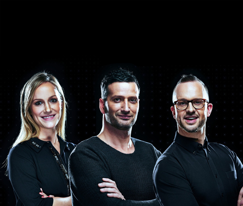 Finalisten van De mol (vlnr.): Elisabeth, Axel en Bas.