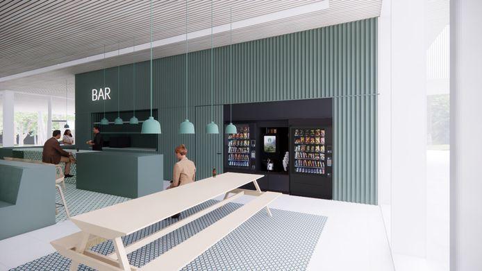 Het ontwerp voor het nieuwe horecagedeelte van het zwembad De Koerbelt.