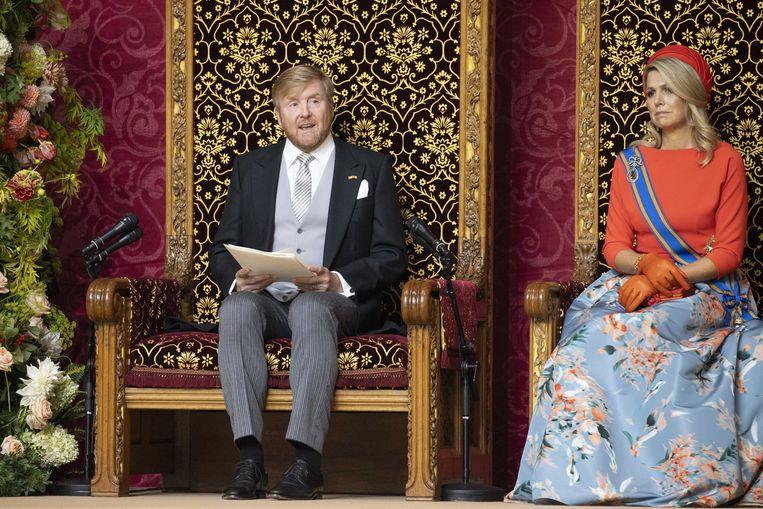 Koning Willem-Alexander en koningin Máxima tijdens de Troonrede. Beeld ANP