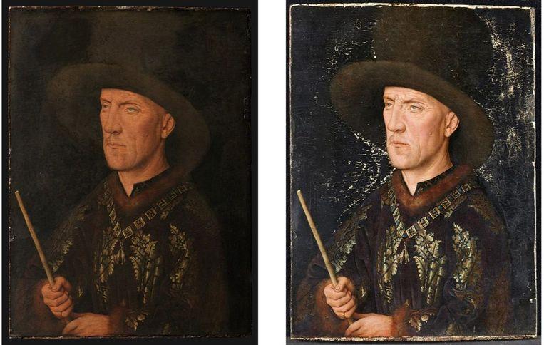 Jan van Eyck, 'Portret van Baudouin de Lannoy', ca.1435 (voor en tijdens de restauratie). Beeld RV /  © KIK-IRPA, Brussel