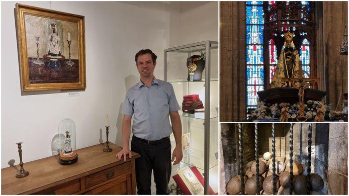 Historicus Peter François van het Streekmuseum Halle vertelt over de Onze-Lieve-Vrouw van Halle en hoe ze destijds volgens de legende kanonsballen tegenhield van de belegeraars in 1489.