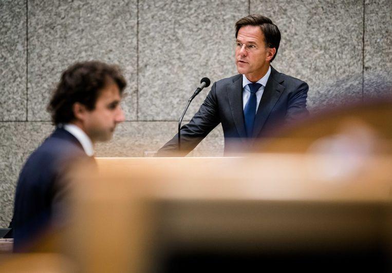 Jesse Klaver (GroenLinks) en Premier Mark Rutte. Beeld ANP