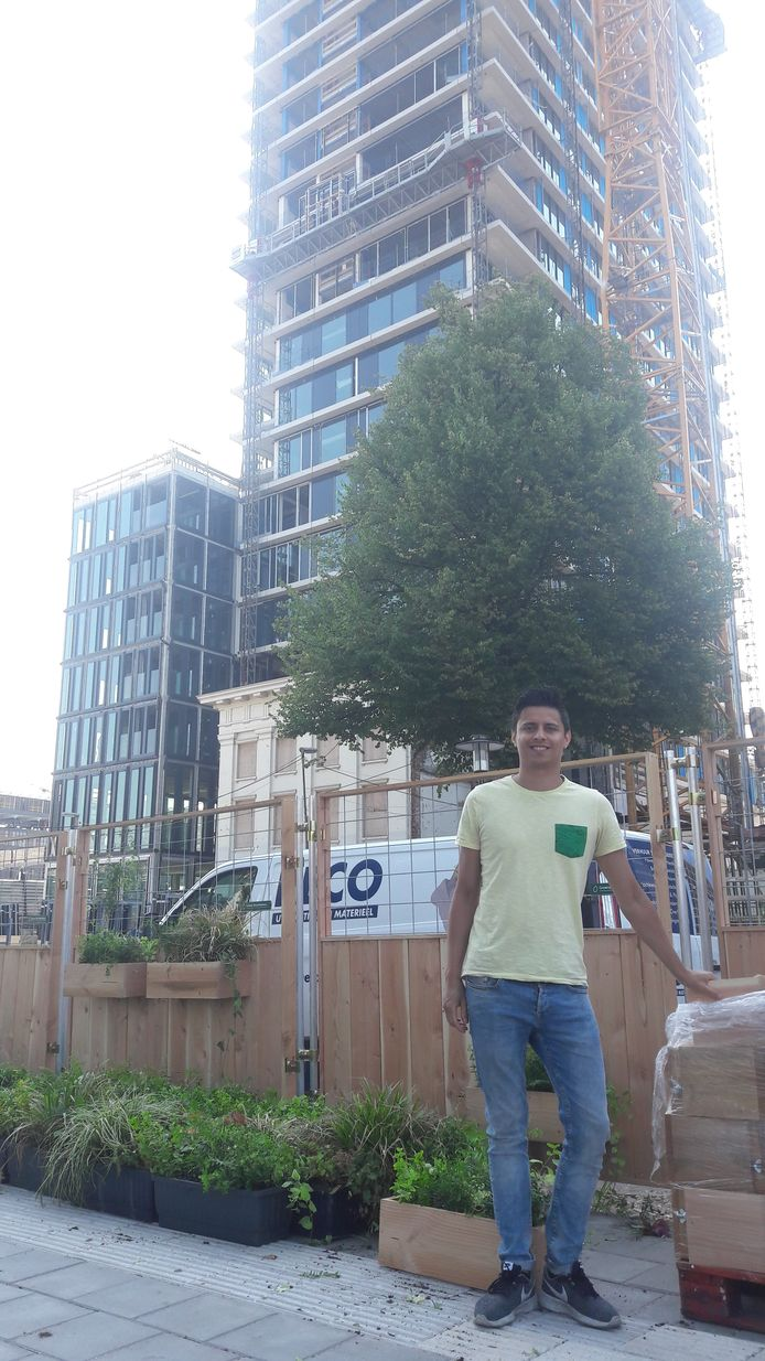 Hugo Ward hangt met zijn bedrijfje groene plantenbakken aan de bouwhekken rondom de nieuwe woontoren aan de Van Sijpesteijnkade in Utrecht.