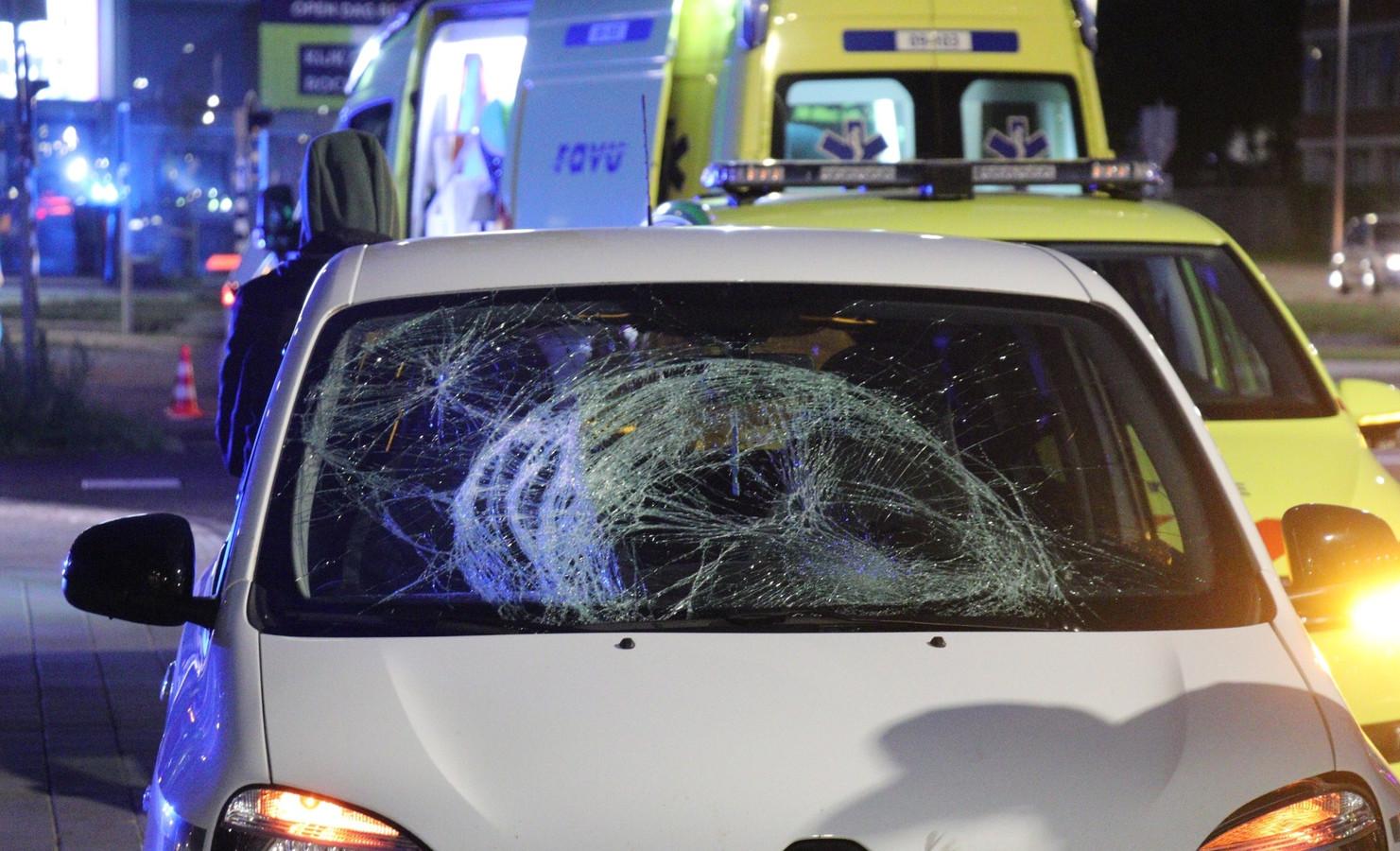 De auto na het ongeval.