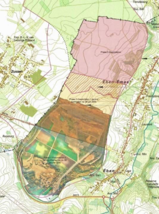 La demande d'extension concerne la zone en rose.