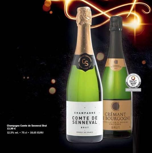 Si vous ne jurez que par Lidl, le champagne Comte de Senneval sera très bientôt à 9,99 euros également