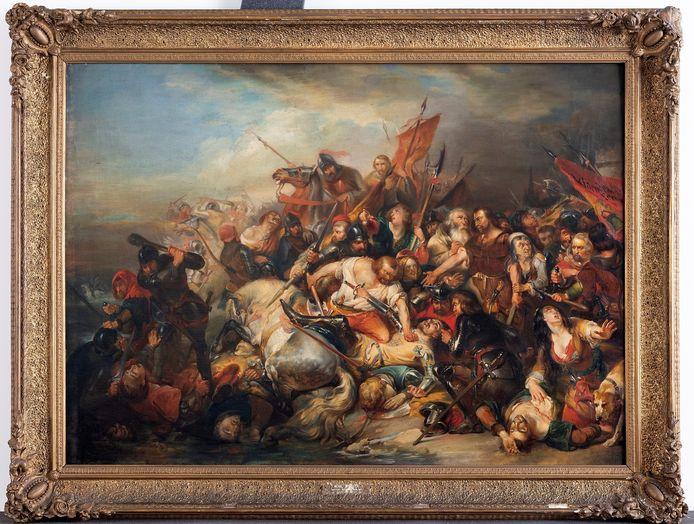 Het tweede en kleinere schilderij De Slag der Gulden Sporen van Nicaise de Keyser, voor de restauratie