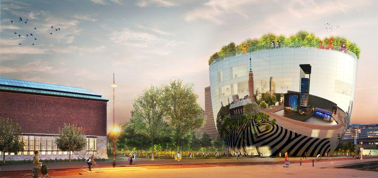 Een impressie van het het Depot, het Collectiegebouw voor Museum Boijmans van Beuningen. Het gaat in 2020 open naast het huidige museum (links). Beeld MVRDV