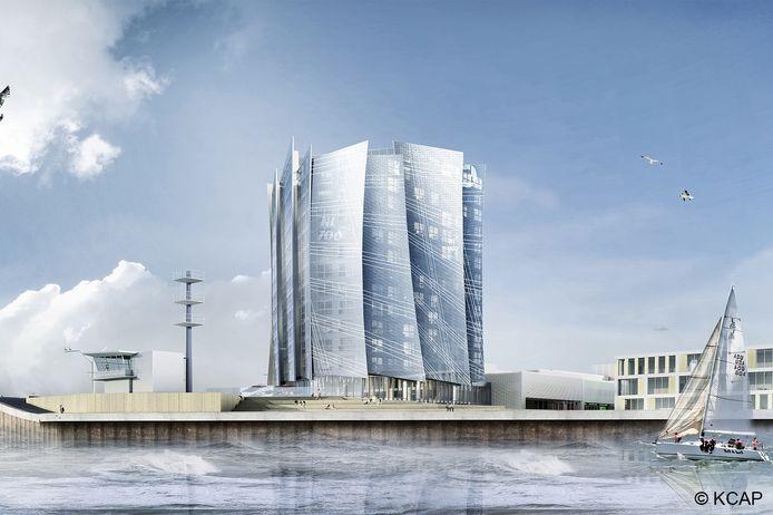 Ontwerp van het nieuwe hotel in de haven.