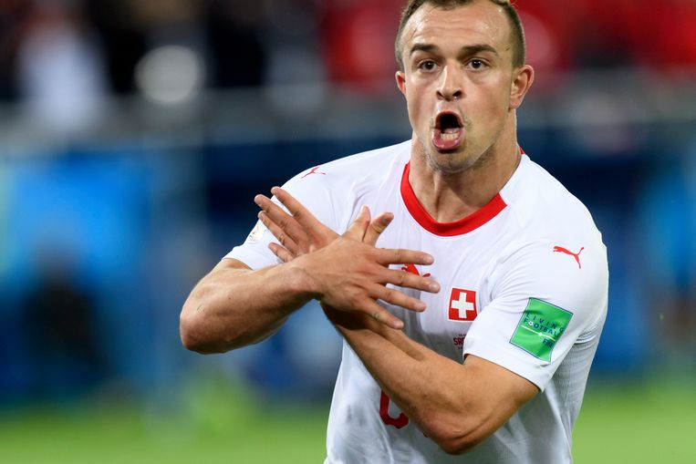 Shaqiri vierde zijn goal op het WK in Rusland tegen Servië op controversiële wijze.
