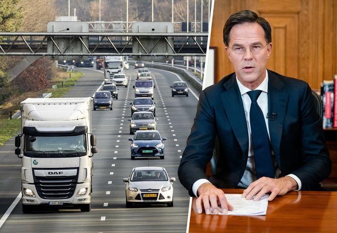 Verkeer op de A28. Het kabinet roept iedereen op om zo min mogelijk te reizen.