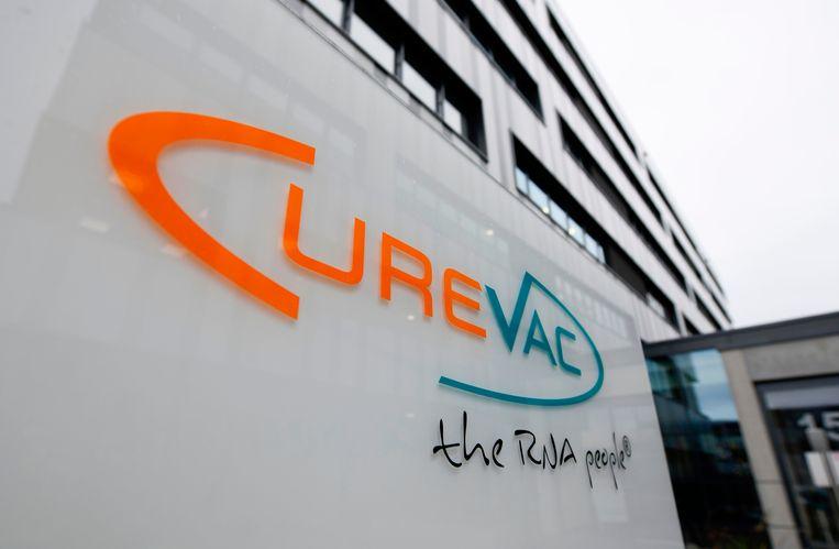 Het hoofdkantoor van de Duitse farmareus CureVac in Tübingen. Beeld AFP