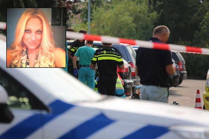 Hulpdiensten op de parkeerplaats waar Linda van der Giesen werd doodgeschoten. Inzet: Linda van der Giesen.