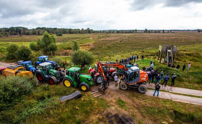 Protestactie van de boeren in het Wierdense Veld.