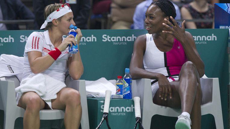 Kirsten Flipkens moet meteen aan de bak tegen Venus Williams. Beeld BELGA
