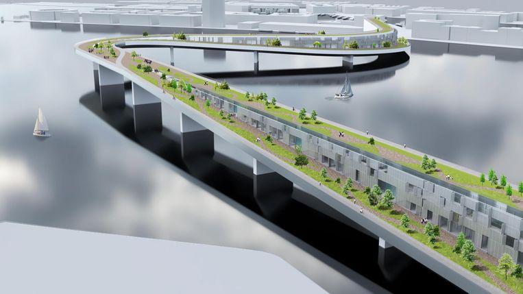 Woningen, fietspaden en groen maken de IJbrug van Philipp Bernátek meer dan de verbinding van twee oevers. Beeld DOMINIK PHILIPP BERNÁTEK