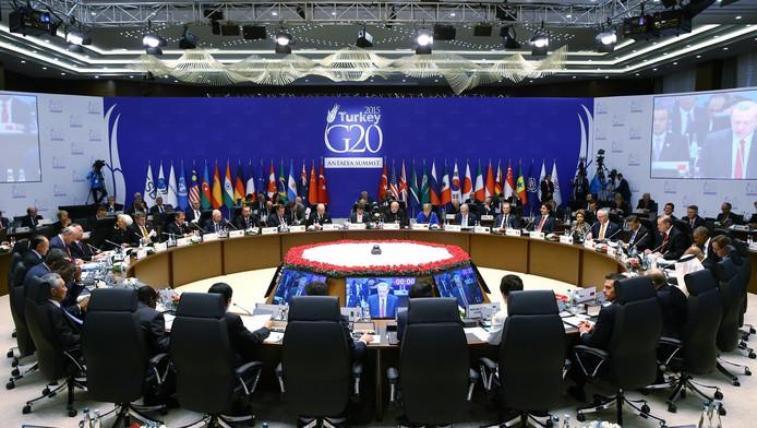 De wereldleiders zaten maandag om tafel tijdens de G20