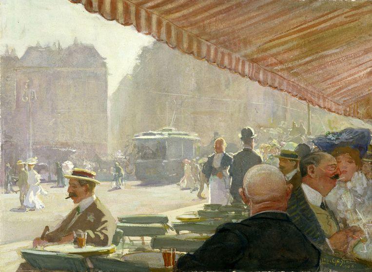 Café-terras aan het Rembrandtplein van Leo Gestel. Beeld