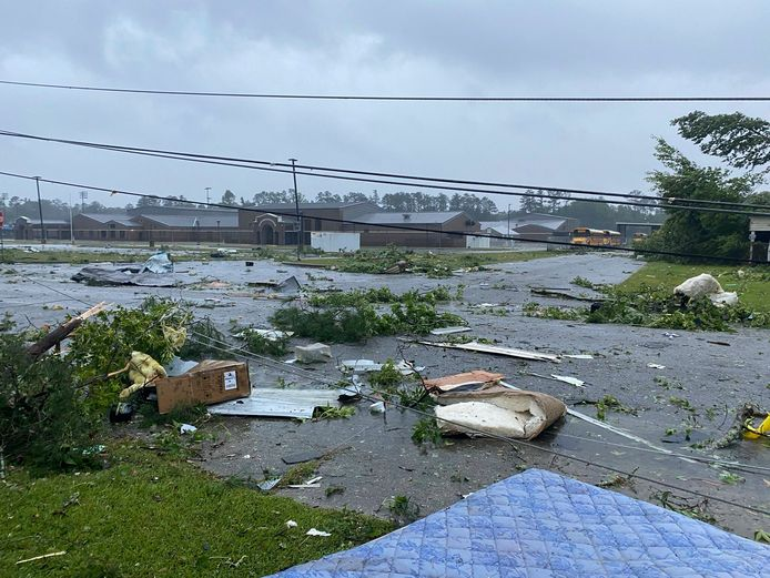 Storm Claudette heeft grote schade aangericht in onder meer Alabama.